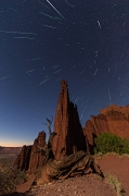 Perseid Meteor Shower over the Titan - Fisher Towers, Utah