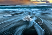 Diamonds in the surf - Black sand beach Iceland