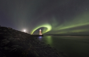 Aurora Cricle around the lighthouse - Lighthouse in Iceland
